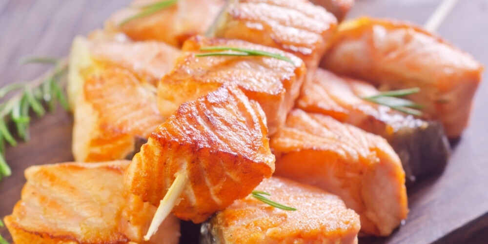 Thai Salmon Kebabs with Sweet Chilli & Lime Dip